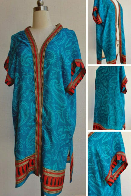 short sleeve mid length kimono pattern