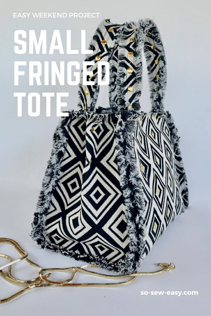 small fringed tote bag