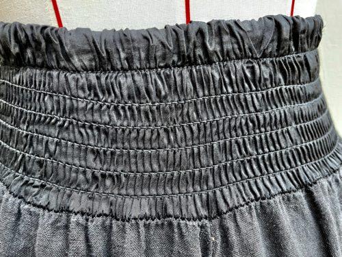 shirred waist wide leg pants